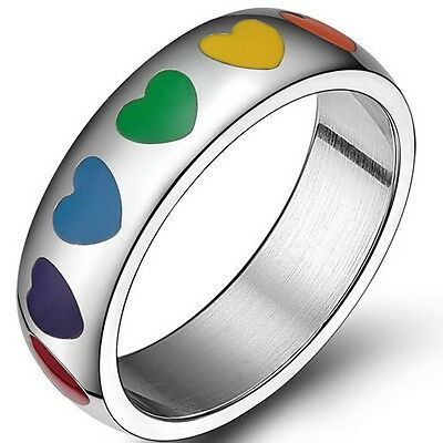 6MM Size 6-12 Stainless Steel Rainbow Candy Color Ring Heart Love Children Gift
