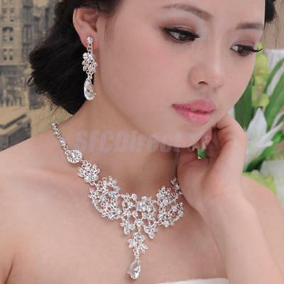 Sparkling Bridal Wedding Jewelry Diamante Teardrop Crystal Necklace Earrings Set