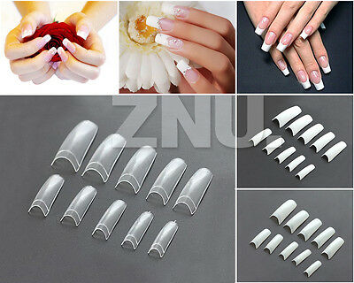 500 pcs Acrylic Gel False French Half Nail Art Tips DIY CLEAR WHITE NATURAL Kit