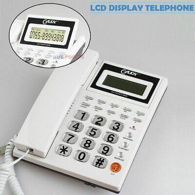 WHITE Desktop Phone Home Office Corded Telephone answering machine Caller ID
