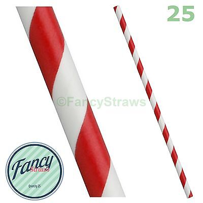 Drinking Straws Red and White Stripe Eco Friendly Paper | FREE Fast UK Shipping