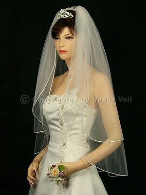 2T Ivory Bridal Fingertip Length Rattail Edge Wedding Veil