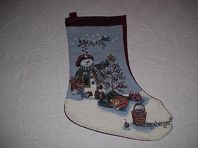 Longaberger Basket Chrsitmas Stocking Snowman Cat Tree Bluebirds USA Embroidery