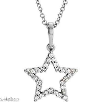 "14kt White or Rose or Yellow 1/6 CTW Diamond Petite Star 16"" Necklace Pendant"