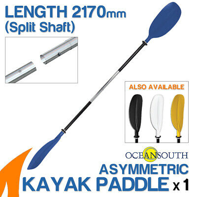 Premium 2.17m Blue Alloy Asymmetric Kayak Paddle(Split Shaft)