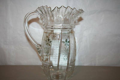 Antique Hand Blown Glass Pitcher With Enameled Flowers Ruffled Lip
