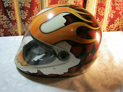 Motorcycle Helmet with Flames Size Large