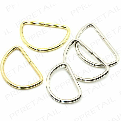 10 x Small - Large D RING BUCKLES SILVER/BRASS Webbing Non Welded Strap Link