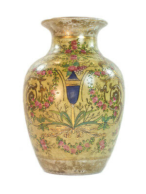French Antique Style Porcelain Yellow & gold Vase with Pink & Green flowers 21cm