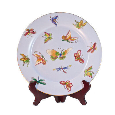Vintage French Country Style Porcelain Blue Plate with Butterfly pattern- 27.5cm