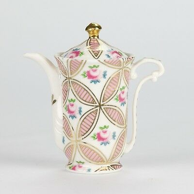 "Antique Chintz Style White Pink Rose Miniature Mini Teapot porcelain 4"" 10cm"