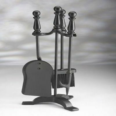 Fireside All Black Fireside 4 Piece Companion Set Hearth Brush Shovel Poker Tong