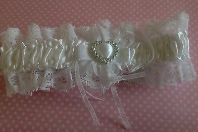 White Lace Ribbon Bridal Garter Silver Heart Bow Wedding Bride Hen Party Bridal