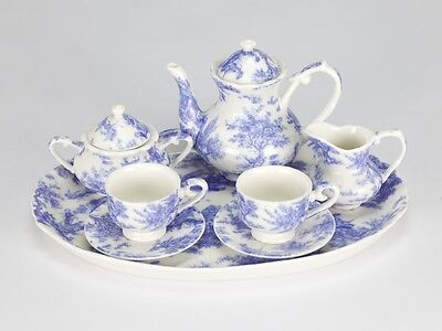 Vintage Style Blue White Mini Miniature Tea set French European porcelain 10 pc