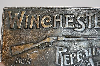 Vintage Retro Winchester Repeating Arms Rifles Metal Belt Buckle New Haven Conn