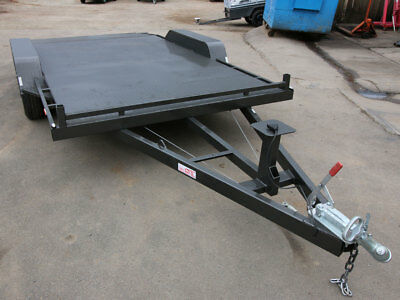 """Car Trailer 14ft x 6'6""""ft Tandem Axle with a Flat Deck Beaver Tail"""