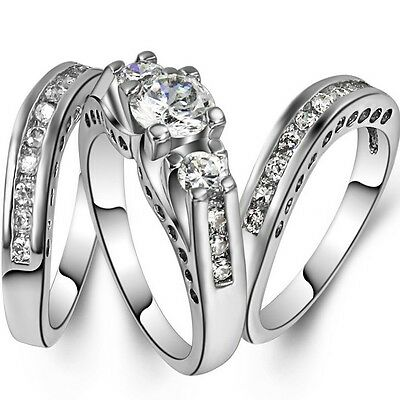 SZ 4-12 Rhodium Plated Wedding Engagement Ring 3-in-1 Propose Party Anniversary