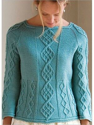 "Womans Aran Cable Sweater  ~ Easy Pattern  ~ 28"" - 47""  ~ Knitting Pattern"