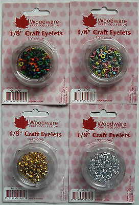 """Woodware 1/8"""" Eyelets - Primary, Pastel, Gold & Silver"""