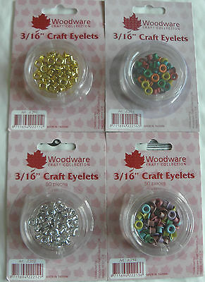"""Woodware 3/16"""" Craft Eyelets - Primary, Pastel, Gold, Silver"""