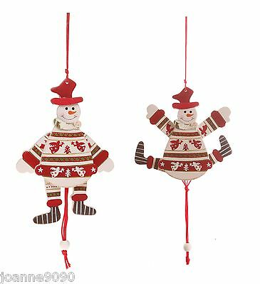 Hanging Snowman Frosty Jumping Father Christmas Tree Vintage Novelty Decoration