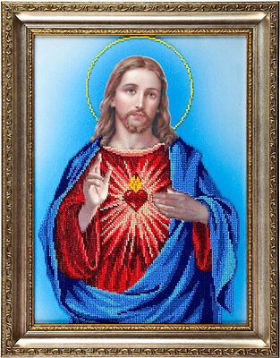 Sacred Heart of Jesus Unique Wall Art for Room Decoration kit, DIY beadpoint