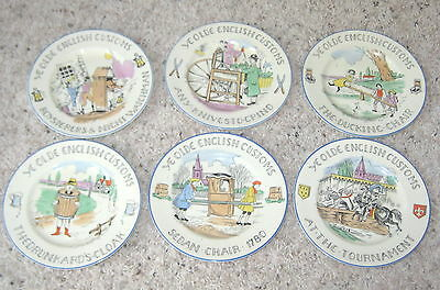 "Burgess & Leigh YE OLDE ENGLISH CUSTOMS 6"" Bread Plates Set of 6 Assorted"