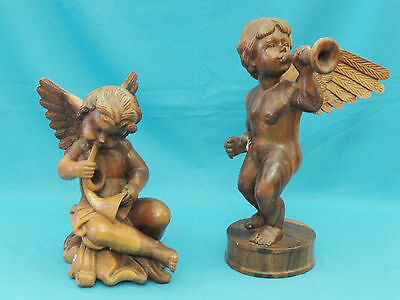 "FABULOUS PAIR of LARGE VINTAGE 60s PUTTI ANGEL SCULPTURE FIGURINES ~ 22.5"" & 17"""