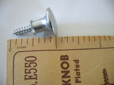 Vtg NOS small CHROME Bread Board Drawer KNOBS threaded wood screw Door Pulls