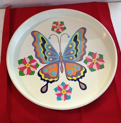 """Vintage Mid Century  Cheinco Funky Butterfly  14 """" Metal Serving Tray"""