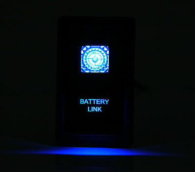 Dual LED BACKLIT Laser Etched BATTERY LINK Rocker Switch -With Mounting Panel