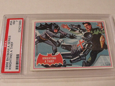 "1966 Topps BATMAN (A Series) Red Bat #9A ""Knighting A Thief"" - PSA 7 NM - Rare!"