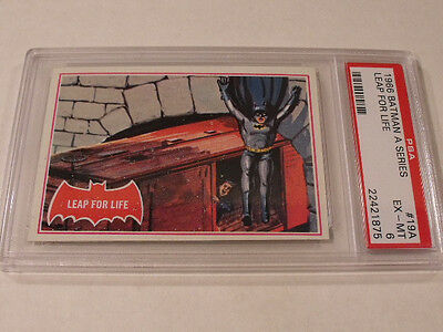 "1966 Topps BATMAN (A Series) Red Bat #19A ""Leap For Life"" - PSA 6 EX-MT - Rare!"