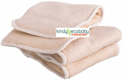 10 PACK Hemp & Cotton Nappy Inserts/Boosters for Modern Cloth Nappy/Breast Pads