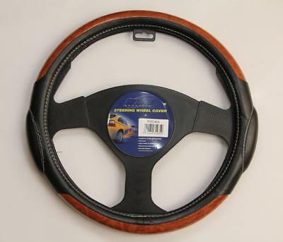 Mountney Black Leather Look Steering Wheel Cover /glove Wood Effect 37-39Cm
