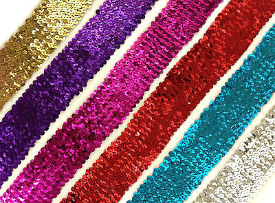 Stunning 6 Row Elastic Stretch Sequin Trim 55Mm, Various Colours, Sold Btm