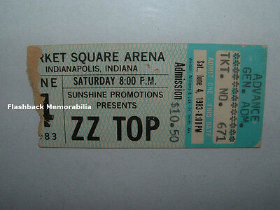 ZZ TOP 1983 Concert Ticket Stub MARKET SQUARE ARENA Rare Z.Z. Eliminator Tour