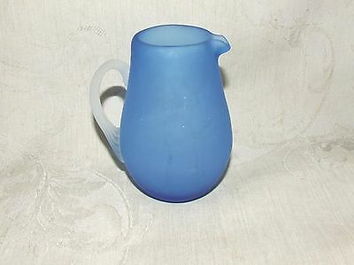 """1960s Pilgrim Blue Satin Glass 3 1/2"""" Mini Pitcher Frosted Applied Reeded Handle"""