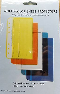 Franklin Covey Compact Multi-Color Sheet Protectors - 5 Assorted Colors