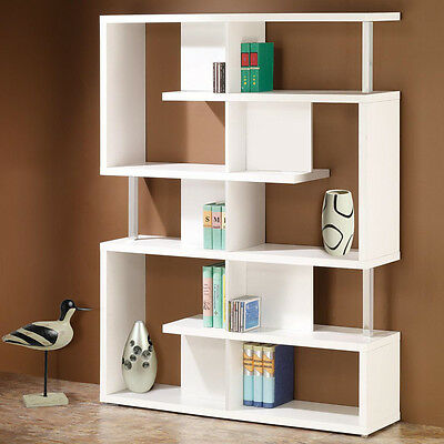 Contemporary White Chrome Beams Bookcase Bookshelf Display Storage Book Shelves