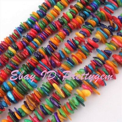 "Natural Freeform Shape Multicolor Shell Mop Gemstone Beads Spacer Strand 15""/34"""