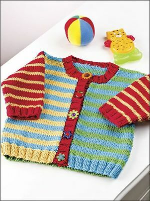"Baby Childrens Little Button Up Stripe Cardigan 24"" - 30"" Easy Knitting Pattern"