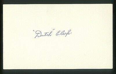 Dutch Clark Autographed Index Card Lions