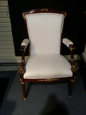 Empire arm chair French gold gild dore bronze mahogany fruits 19th century pair