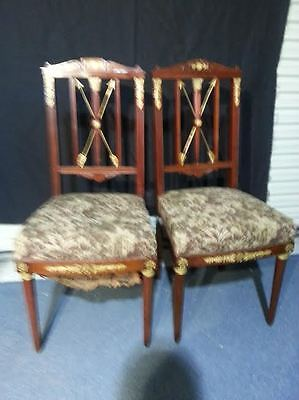 Empire side chair French gold gild dore bronze mahogany arrows 19th century pair