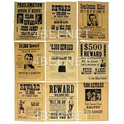 9 WESTERN WANTED POSTERS James,Cassidy, Sundance, Dalton, Billy the Kid & MORE!