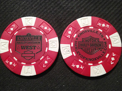 """Harley Davidson Poker Chip (Red & White) """"Knoxville West H-D"""" Tennessee"""