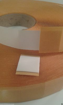 DOUBLE SIDED ADHESIVE FOAM PADS STICKY FIXERS 3D EFFECT 25MM SQUARE x 1MM THICK