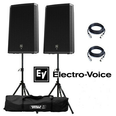 """Electro-Voice EV ZLX-15P 15"""" DJ Active 2000W PA Club Stereo Speaker Stand Pack"""