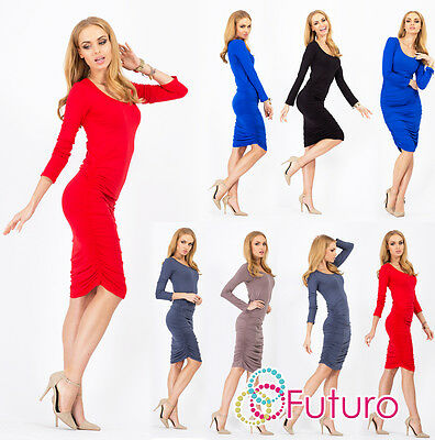 Womens Ruffled Dress Scoop Neck Long Sleeve Stretch Bodycon Tunic Size 8-18 8996